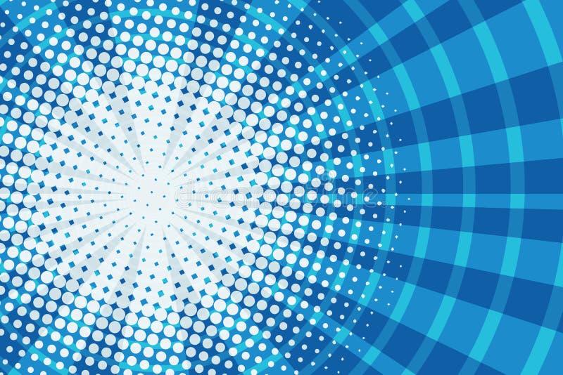 Corredor azul no fundo cômico retro do pop art dos quadrados ilustração royalty free
