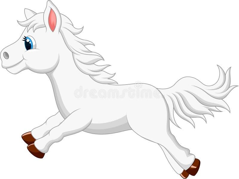 Corredor branco bonito dos desenhos animados do cavalo do pônei ilustração stock