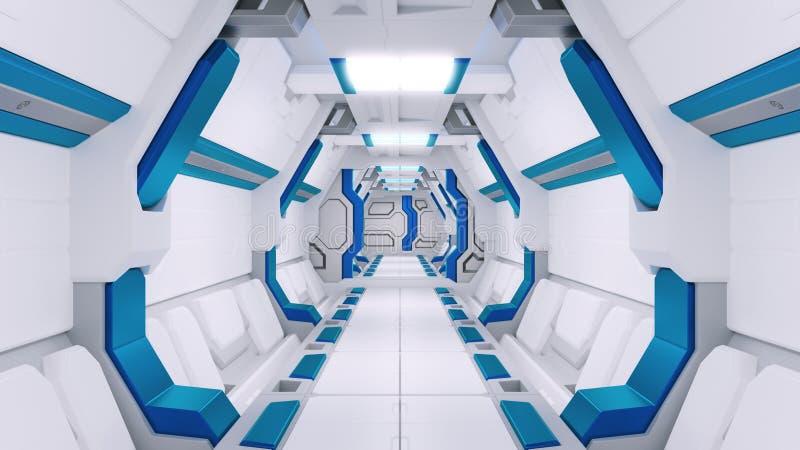 Corredor branco de uma nave espacial com decoração azul illustartions da nave espacial 3d da ficção científica ilustração stock