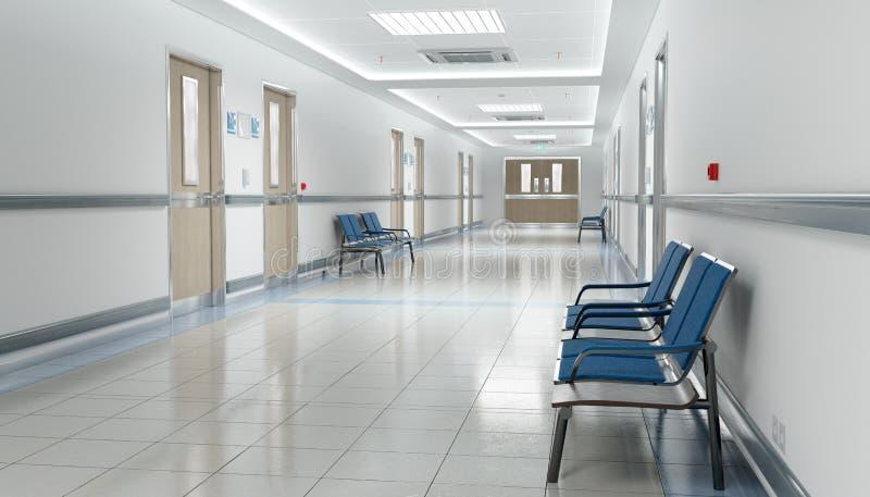 Corredor brilhante do hospital longo com salas e rendição dos assentos 3D ilustração royalty free