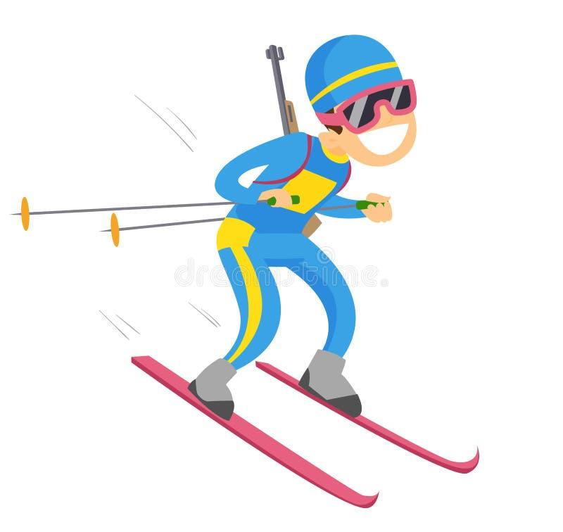 Corredor caucasiano do biathlon que corre com uma arma do rifle ilustração stock
