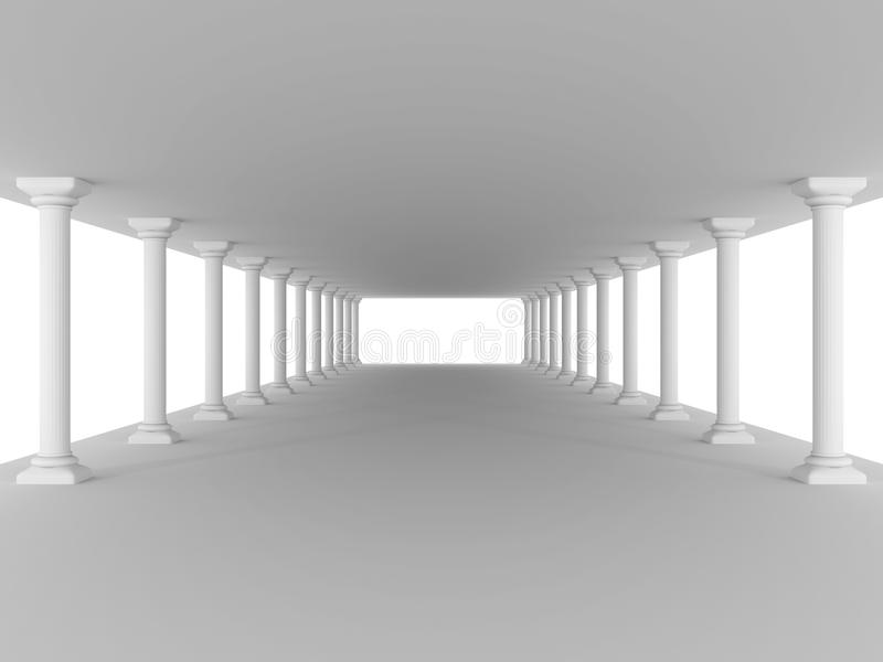 Corredor com fundo da arquitetura do projeto da antiguidade das colunas ilustração royalty free