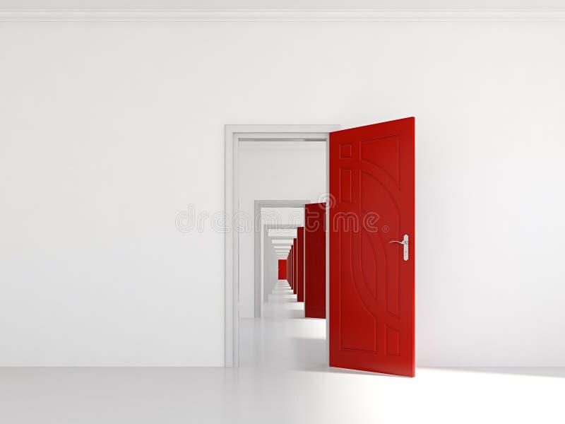 Corredor com muitas portas ilustração do vetor