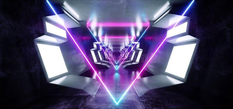 Corredor concreto reflexivo de incandescência do túnel do corredor do assoalho do metal azul branco da nave espacial futurista de ilustração royalty free