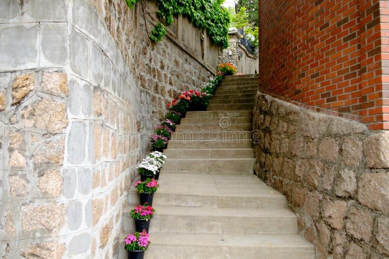 Corredor da escadaria entre as paredes feitas dos tijolos fotos de stock
