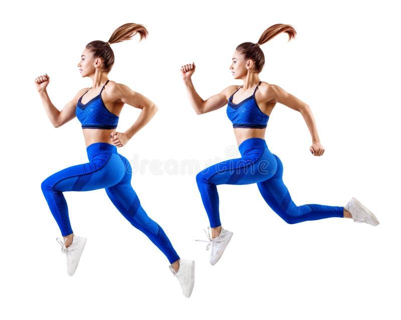 Corredor da jovem mulher no salto azul do sportswear no ar fotografia de stock royalty free
