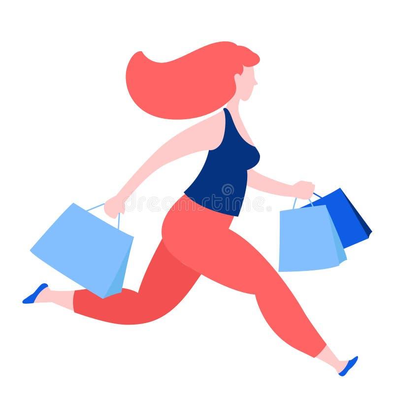 Corredor da mulher com os sacos de papel da compra da compra Começo de sexta-feira do preto do desconto da venda do verão ilustração royalty free