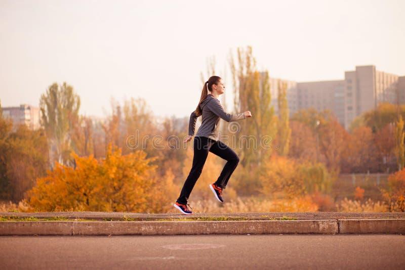 Corredor da mulher no conceito saudável da floresta da queda do outono fotografia de stock