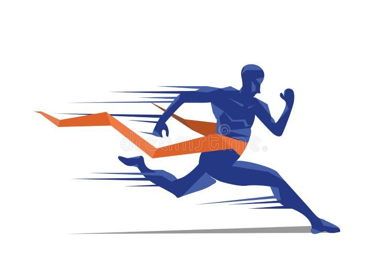 Corredor da sprint do homem para ganhar o projeto ilustração stock