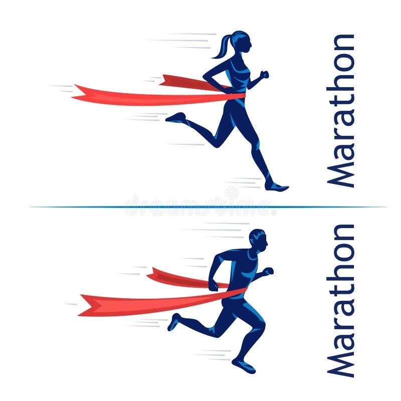 Corredor da sprint do homem para ganhar o projeto ilustração royalty free