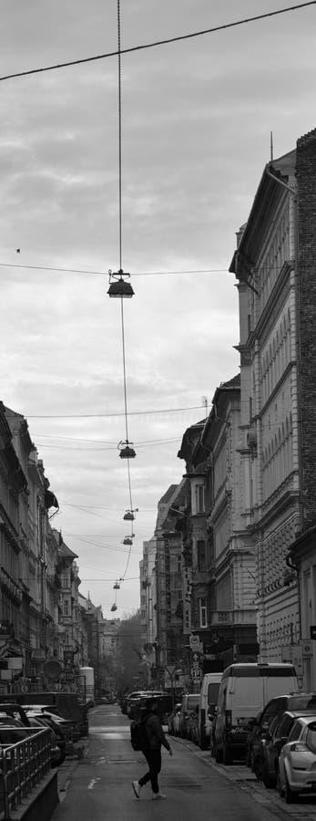 Corredor de Budapest em preto e branco fotografia de stock royalty free