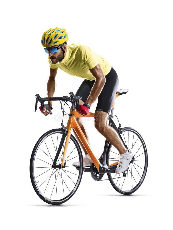 Corredor de la bicicleta del camino de Professinal aislado en blanco foto de archivo libre de regalías