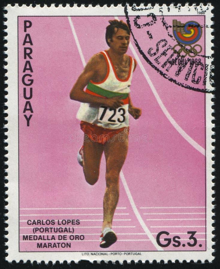 Corredor de maratón de Carlos Lopes imagen de archivo