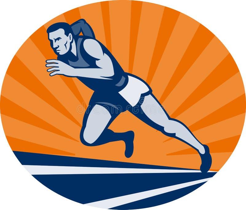 Corredor de maratona na trilha ilustração royalty free