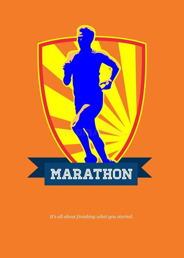 Corredor de maratona que começa o cartaz retro corrido ilustração stock