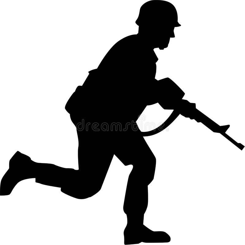 Corredor de Silhouette do soldado ilustração royalty free