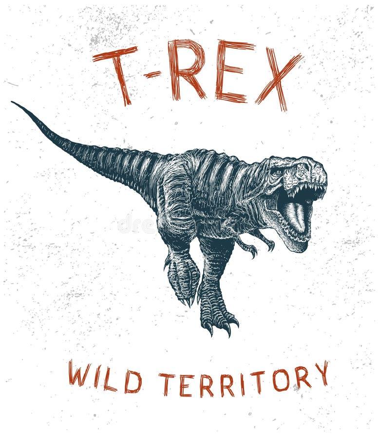 Corredor de T-Rex do dinossauro ilustração do vetor