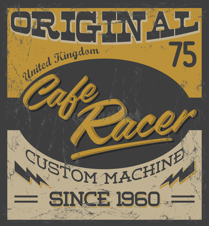 Corredor del café - diseño de la motocicleta del vintage ilustración del vector