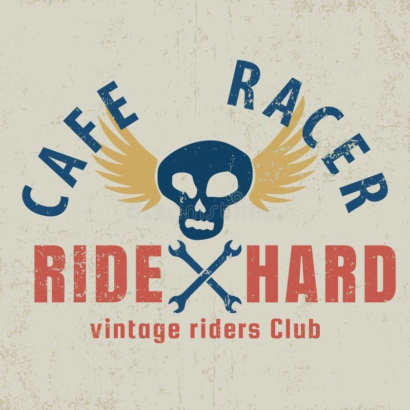 Corredor del café tipográfico con el cráneo con alas, gráfico para la camiseta, diseño de la camiseta libre illustration