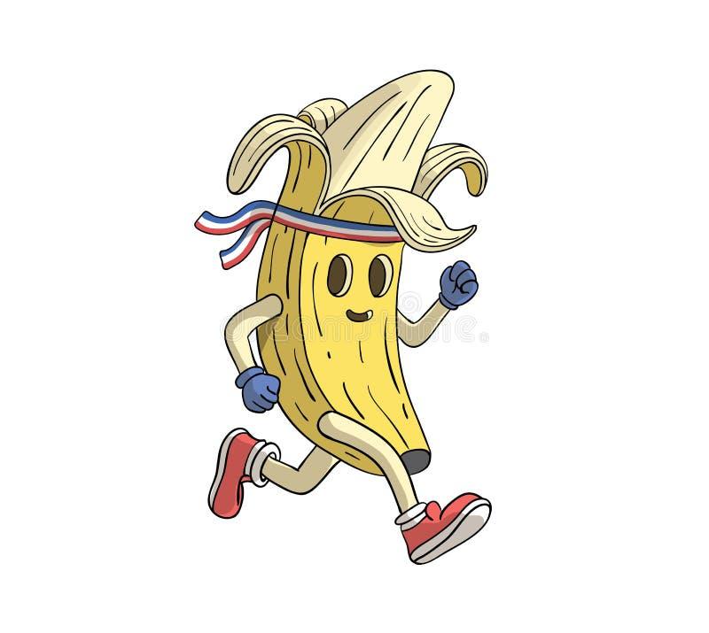 Corredor del plátano funcionado con en un maratón stock de ilustración