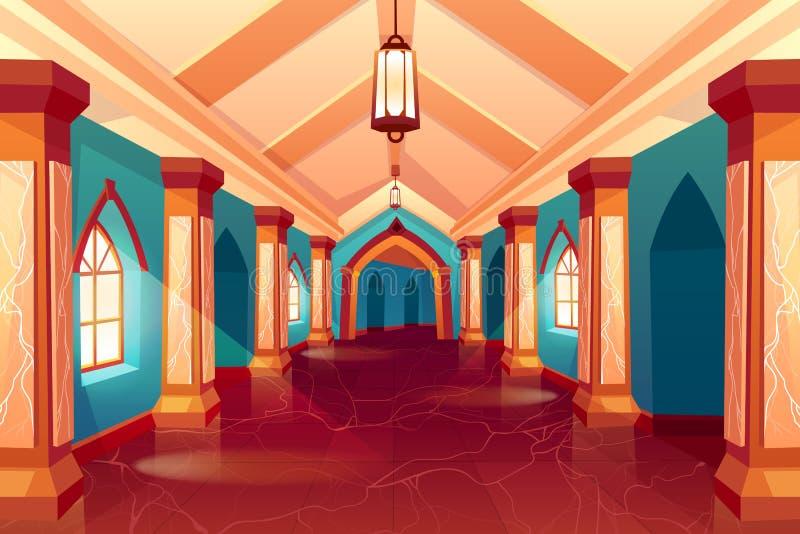Corredor do castelo, labirinto, palácio medieval, labirinto ilustração royalty free