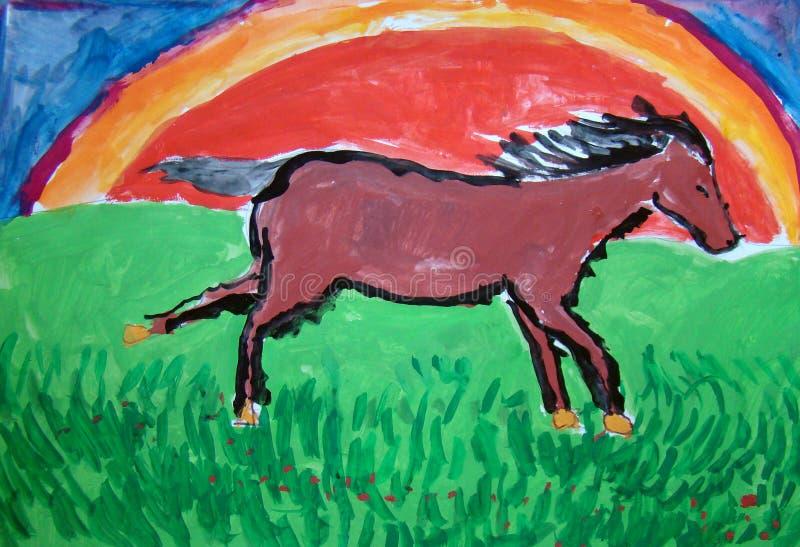 Corredor do cavalo selvagem - pintura do guache feita pela criança ilustração royalty free