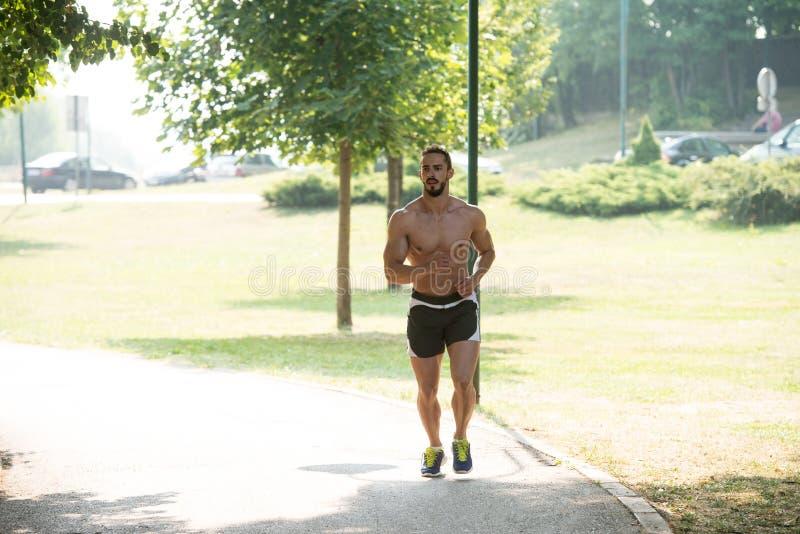 Corredor do halterofilista que corre através da estrada do parque da mola imagem de stock
