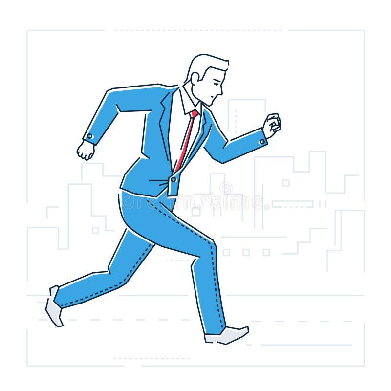 Corredor do homem de negócios - a linha estilo do projeto isolou a ilustração ilustração do vetor