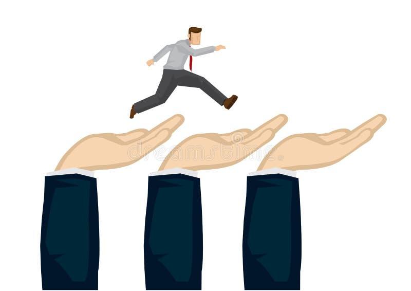 Corredor do homem de negócios sobre as mãos gigantes Conceito da liderança direcional do negócio Homem gigante da ligação da mão  ilustração do vetor