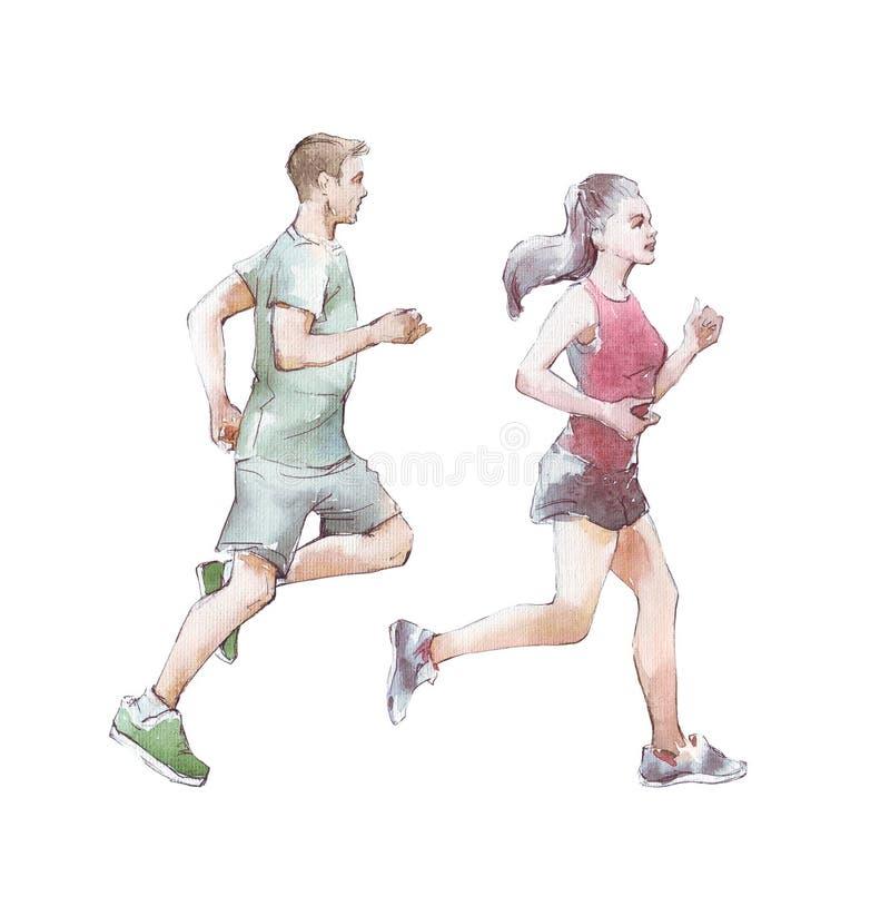 Corredor do homem e da mulher ilustração do vetor