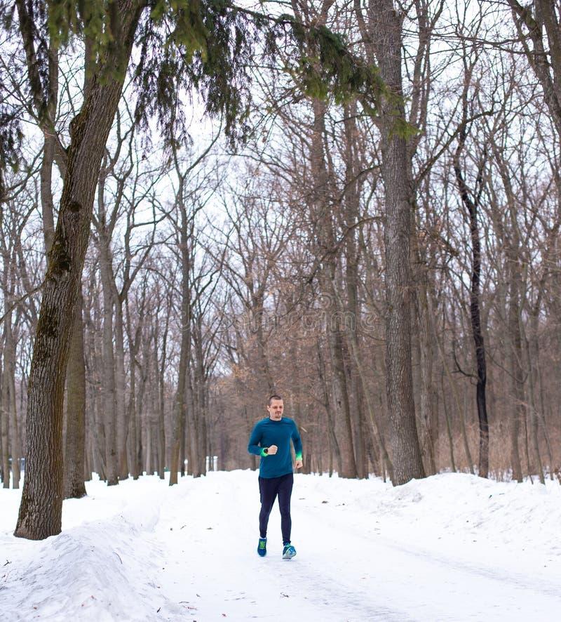 Corredor do homem na floresta da neve no inverno fotografia de stock royalty free