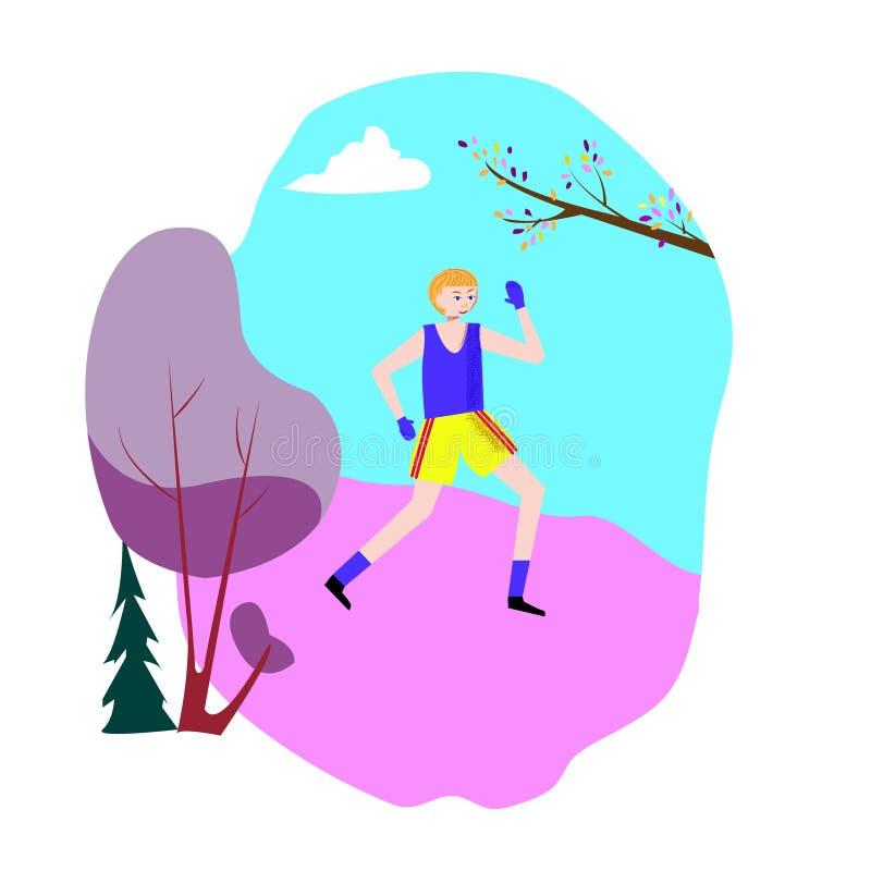 Corredor do homem no parque, no movimento da manhã e no exercício de encaixotamento, conceito liso da ilustração do vetor Ativida ilustração stock