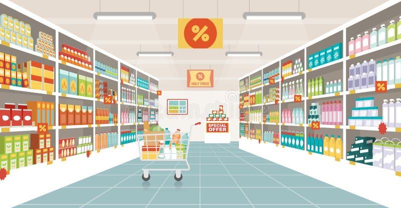 Corredor do supermercado com carrinho de compras ilustração royalty free