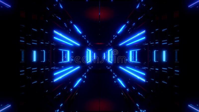 Corredor do túnel do espaço do Scifi com fundo brilhante de incandescência da ilustração das luzes 3d ilustração do vetor