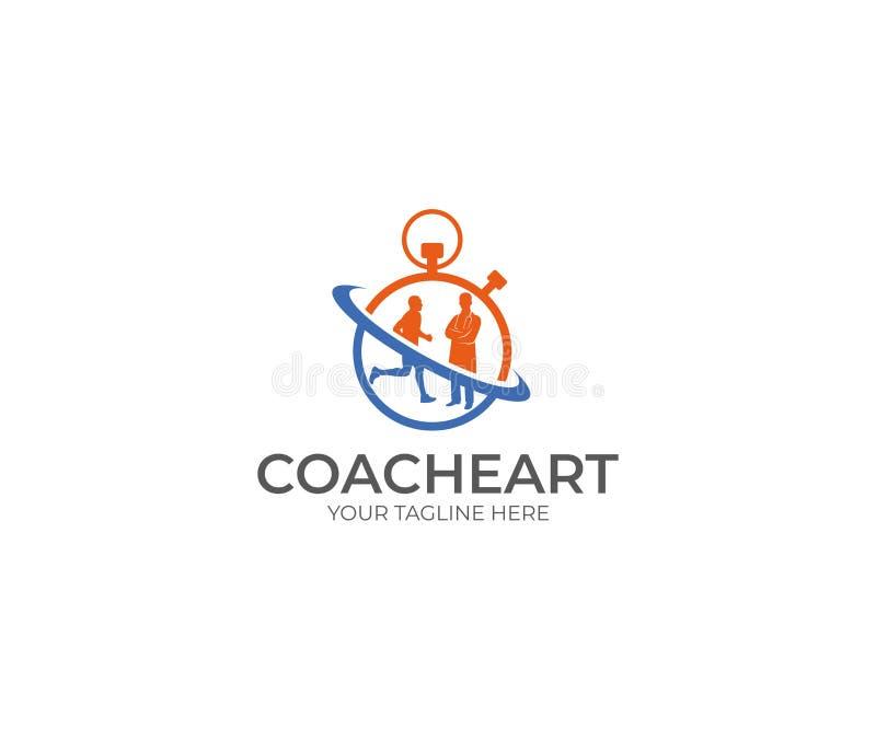 Corredor e doutor Logo Template Treinador de esportes Vetora Design ilustração do vetor