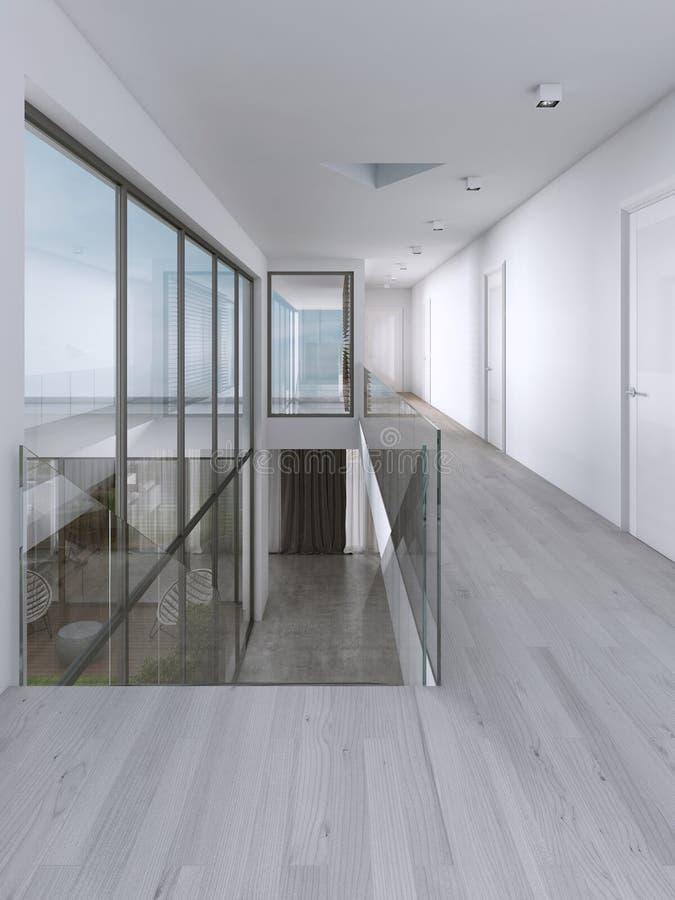 Corredor em uma casa moderna com grandes janelas ilustração do vetor