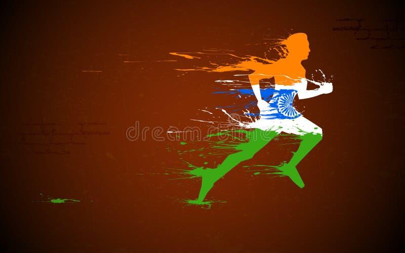 Corredor en tricolor indio ilustración del vector