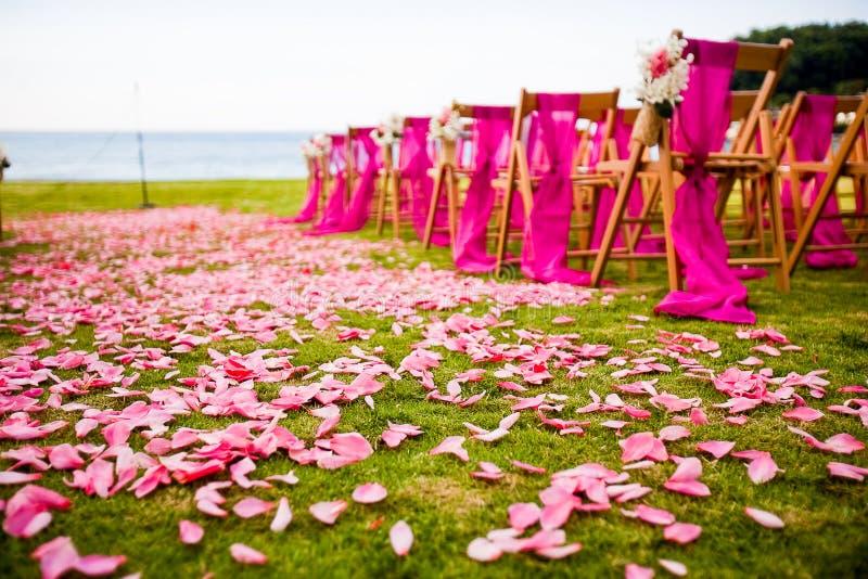 Corredor exterior do casamento em um casamento do destino imagem de stock royalty free
