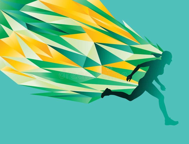 Corredor fêmea da silhueta ilustração stock