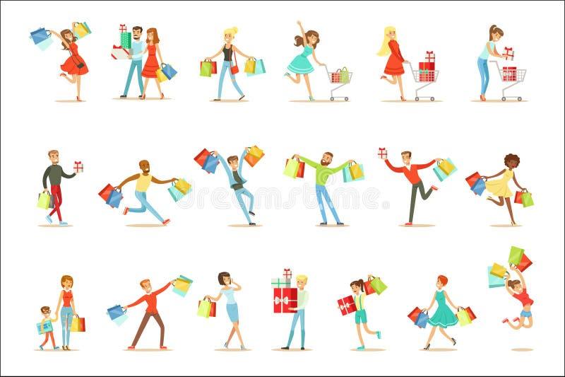 Corredor feliz e entusiasmado dos povos de Shopaholic com coleção de sorriso dos caráteres da caixa dos sacos de compras de papel ilustração do vetor