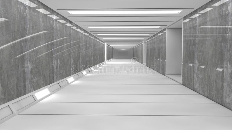 Corredor futurista do interior da nave espacial foto de stock