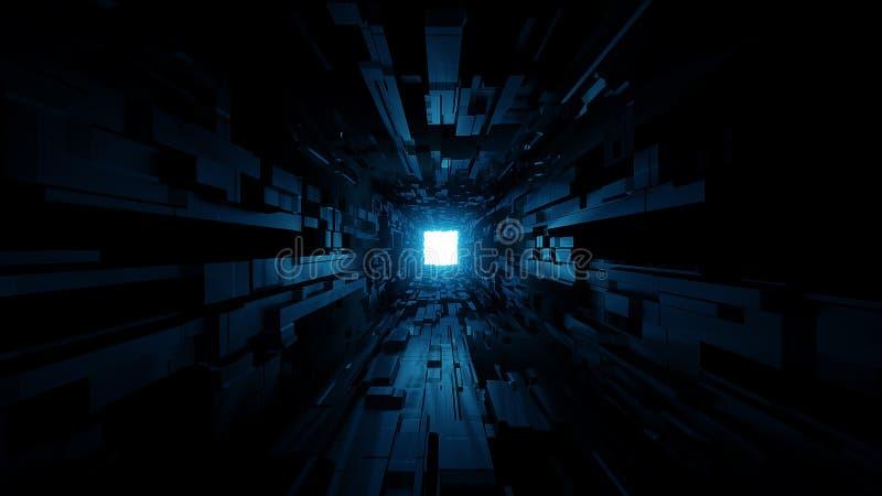 Corredor futurista do túnel do espaço com rendição de incandescência agradável do fundo 3d do brilho ilustração royalty free