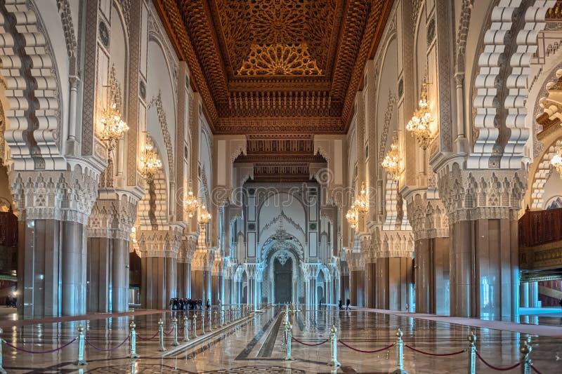 Corredor interior Casablanca Moro da mesquita de Hassan II fotos de stock royalty free