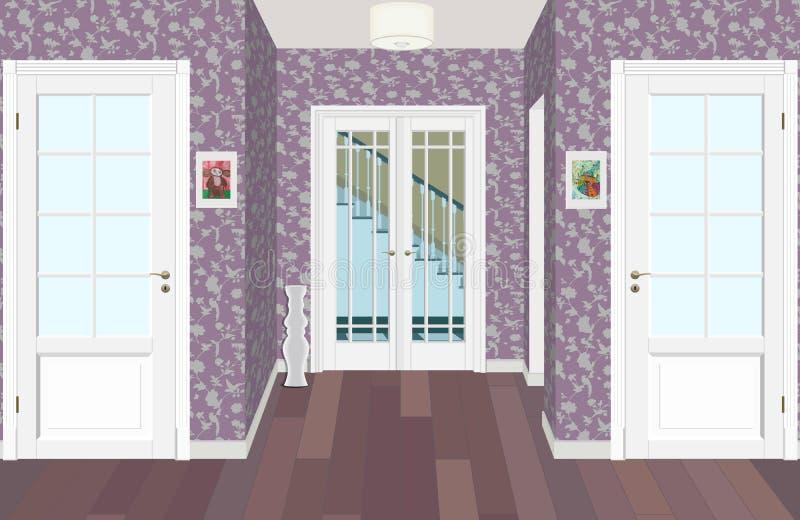 Corredor longo com fileiras de portas fechados Conceito de oportunidades infinitas para o sucesso e dureza da escolha 3d ilustração royalty free