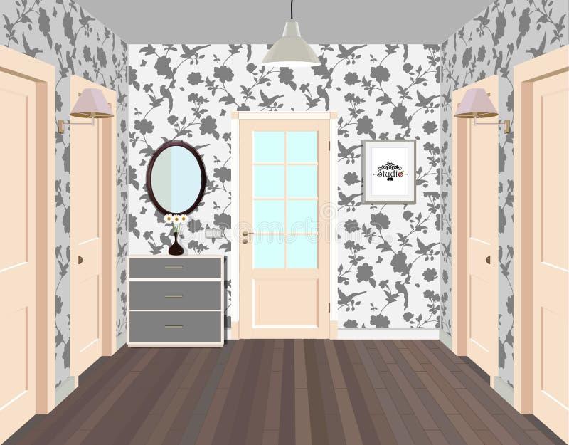 Corredor longo com fileiras de portas fechados Conceito de oportunidades infinitas para o sucesso e dureza da escolha hallway ilustração stock