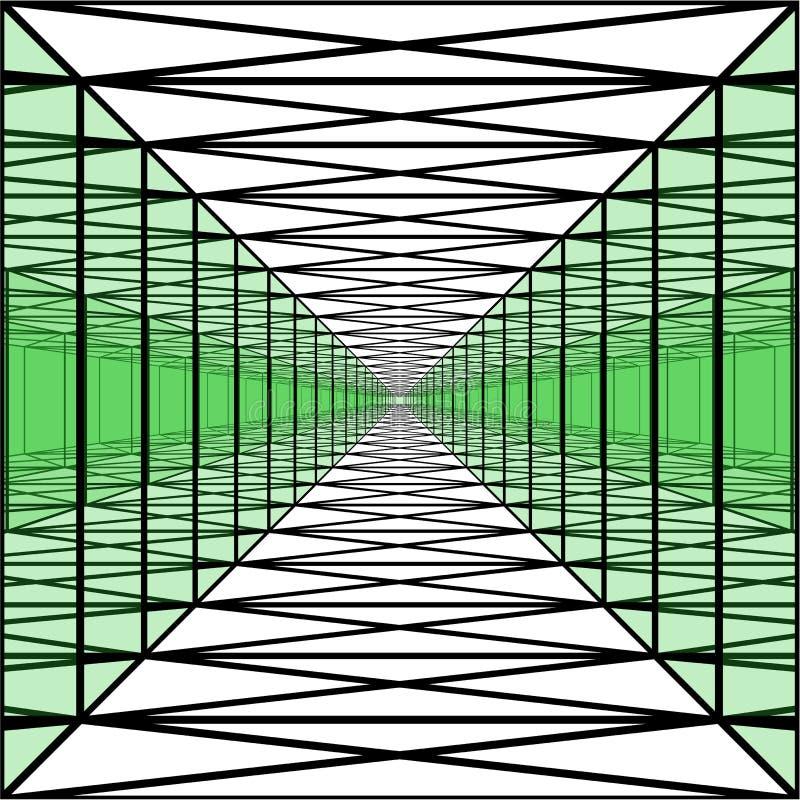 Corredor longo com paredes transparentes, túnel geométrico, perspectiva ilustração royalty free