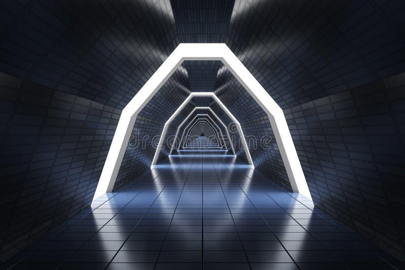 Corredor longo futurista na nave espacial 3D rendeu a ilustração ilustração stock