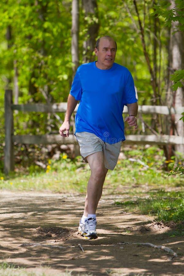 Corredor masculino que corre en el bosque imagen de archivo libre de regalías