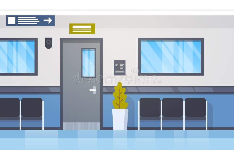 Corredor moderno vazio interior da clínica de Hall With Seats And Door do hospital ilustração royalty free