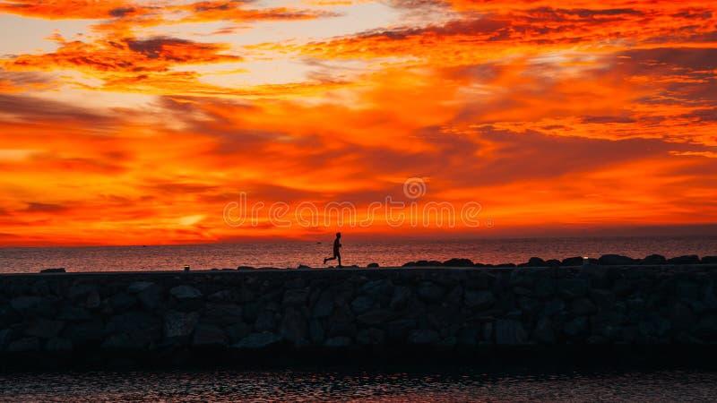 Corredor no nascer do sol que corre ao lado do mar imagem de stock royalty free